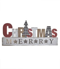 Letrero de madera con LED Merry Christmas